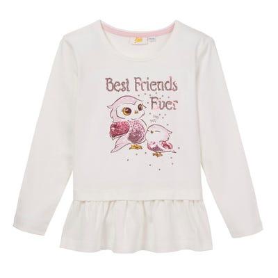Mädchen-Shirt mit Eulen-Frontaufdruck