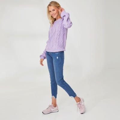 Damen-Jeans mit offenem Saum
