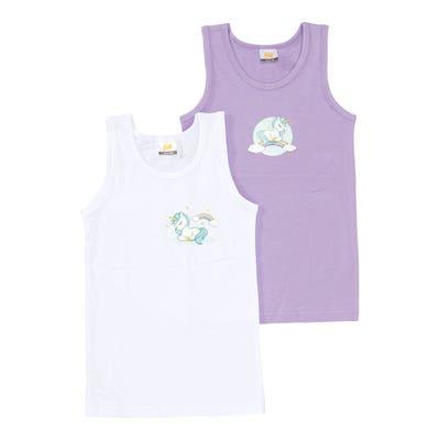 Mädchen-Unterhemd mit Einhorn-Aufdruck, 2er-Pack