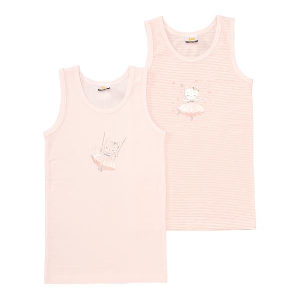 Mädchen-Unterhemd mit Katzen-Aufdruck, 2er-Pack