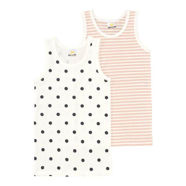 Mädchen-Unterhemd mit Punkte-Muster, 2er-Pack