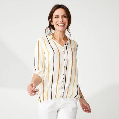 Damen-Bluse mit Krempel-Ärmeln