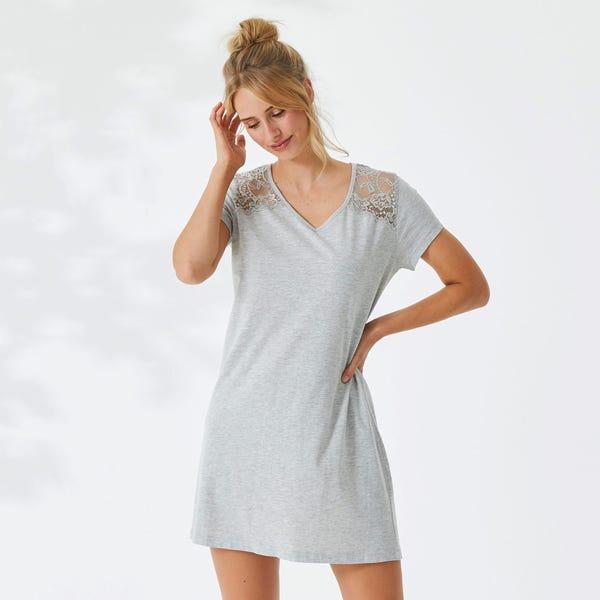 Damen-Nachthemd mit Spitzeneinsätzen