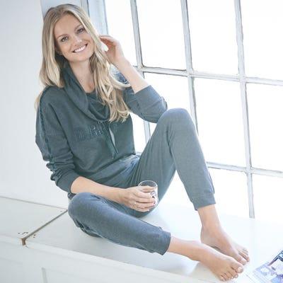 Damen-Homewear-Oberteil mit Wasserfallkragen