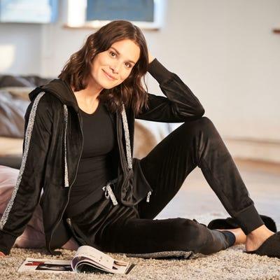 Damen-Nikki-Homewear-Jacke mit Streifen