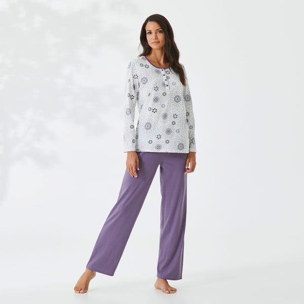 Damen-Schlafanzug mit schlichtem Blumen-Muster, 2-teilig