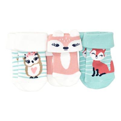 Baby-Mädchen-Frottee-Socken mit Tier-Motiven, 3er-Pack