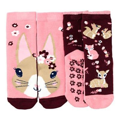 Mädchen-ABS-Socken mit Waldtieren, 2er-Pack