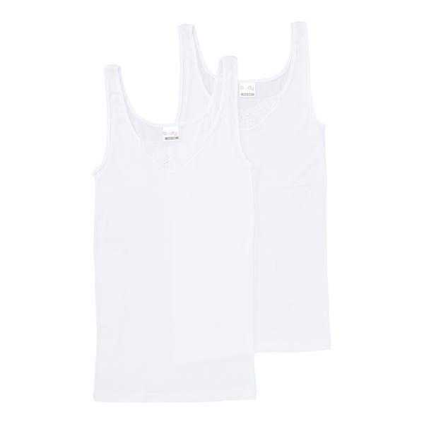 Damen-Unterhemd mit Stickerei, 2er-Pack