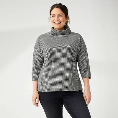 Damen-Sweatshirt mit Web-Muster, große Größen