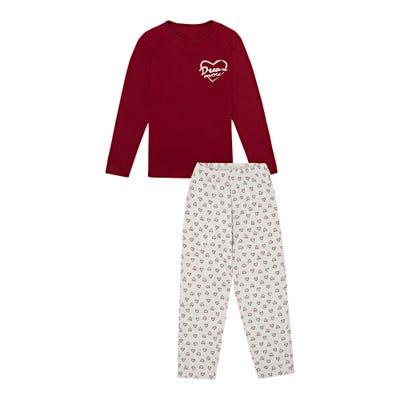 Mädchen-Schlafanzug mit Herz-Druck, 2-teilig