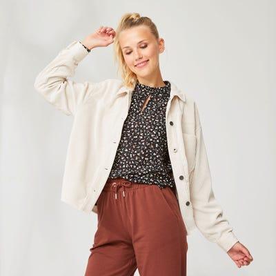 Damen-Bluse mit modischem Stehkragen