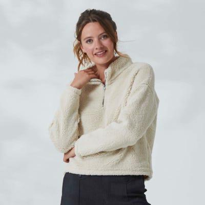 Damen-Sweatshirt aus Teddy-Plüsch