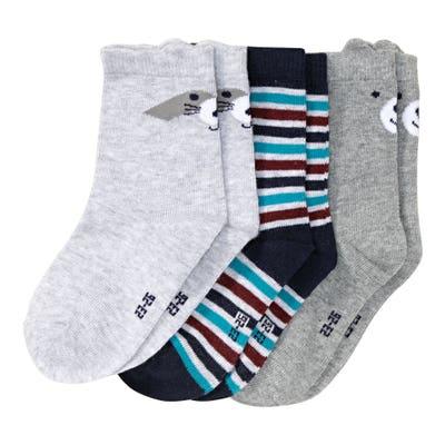 Jungen-Socken mit Tiergesicht, 3er-Pack