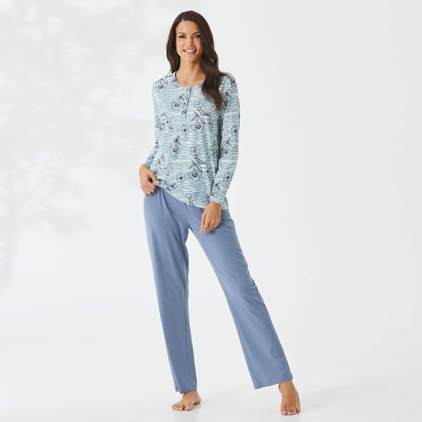 Damen-Schlafanzug mit floralem Muster, 2-teilig