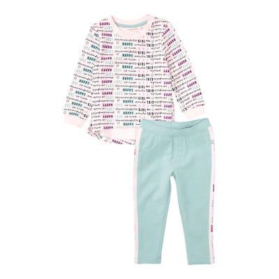Baby-Mädchen-Set mit Schriftzug-Muster, 2-teilig
