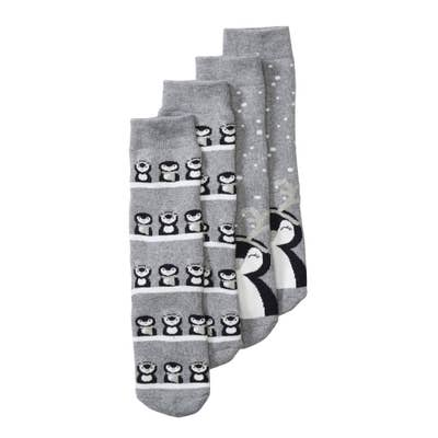 Damen-Thermo-Socken mit Pinguin-Aufdruck, 2er-Pack