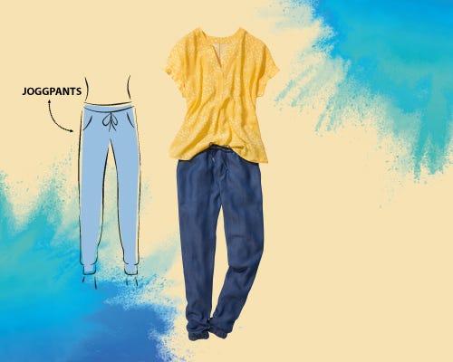 <b>Joggpants</b><br>sind mindestens<br>genauso bequem wie<br>Jogginghosen und<br>erstrahlen in ihren<br>vielen Facetten,<br>durch verschiedene<br>Materialien und Farben.